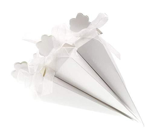 JZK 50 x White Favour Cones Confetti Cones Favour Boxes Gift Boxes Long Triangle Confetti Box for Wedding Birthday Baby Shower Holy Communion Graduation Party Christmas Sweet Box Candy Box