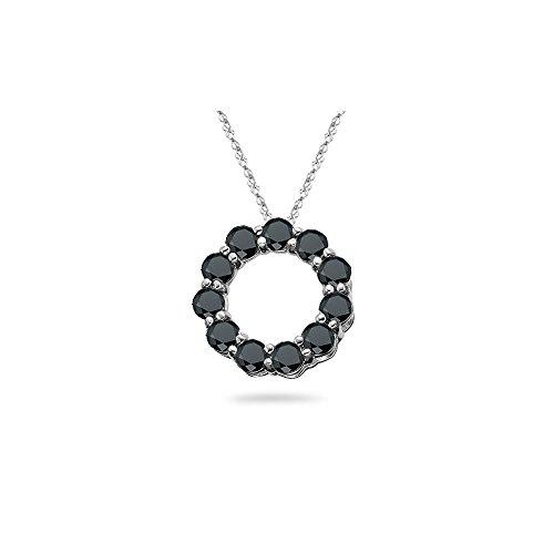 2.50 Cts Black Diamond Circle Pendant in 14K White Gold