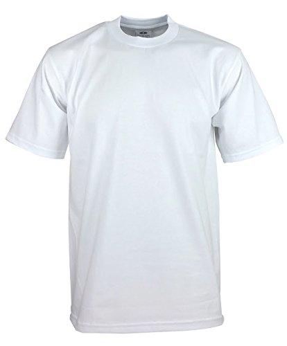 - Men's Proclub Heavy Weight Solid Crewneck Short Sleeve Shirts White 3XL