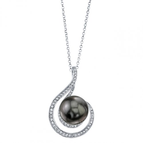 THE PEARL SOURCE 10-11mm Black Tahitian South Sea Cultured Pearl & Cubic Zirconia Melody Pendant Necklace for Women (Cultured Pearl Zirconia Necklace)