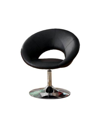 Furniture of America Aspen Padded Leatherette Swivel Chair, Black