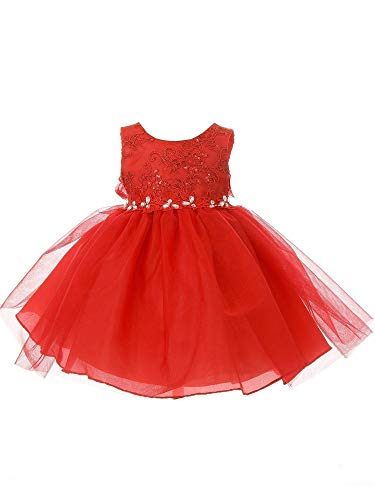 Baby Girls Red Lace Sequin Embroidered Stone Tulle Flower Girl Dress - Embroidered Stone