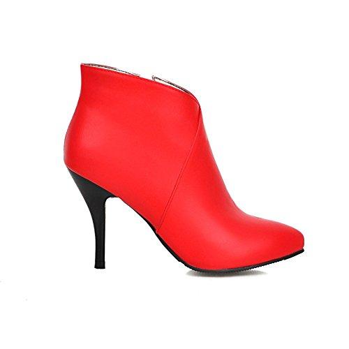 Mode Häl Kvinna Spetsig Tå Stilett Hög Klack Handgjorda Känga Röd