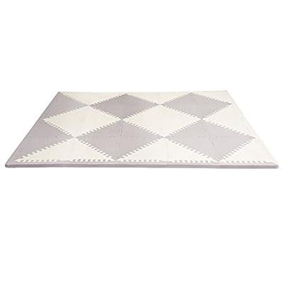 Skip Hop Geo Grey-Cream Playpost Foam Floor Chevron Tile Playmat, Grey
