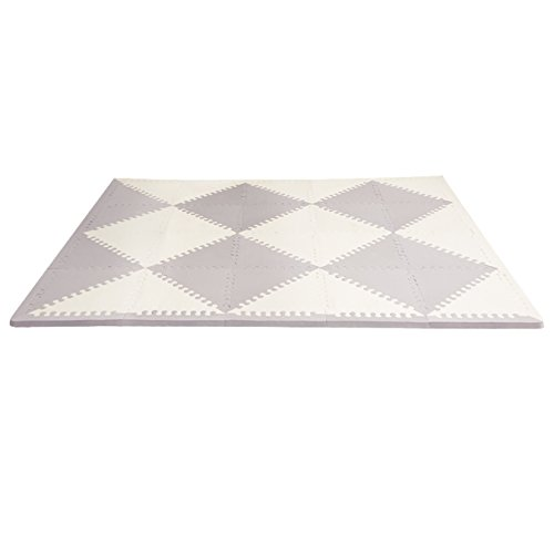 Great Deal! Skip Hop Baby Infant and Toddler Geo Playspot Foam Floor Tile Playmat, Grey - Cream, Che...