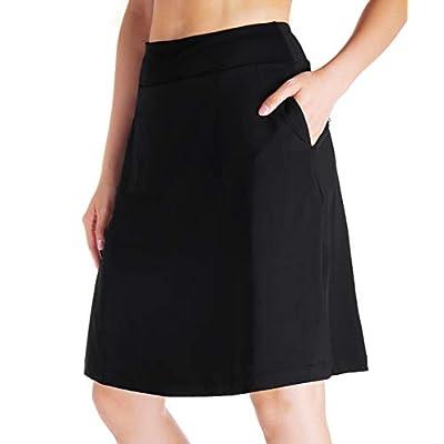 "Yogipace Women's 4 Pockets UV Protection 20"" Modest Knee Length Skirt Athletic Running Golf Tennis Skort Zippered Pockets, Black, Size XXL: Clothing"