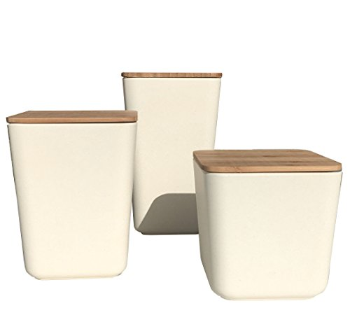 Clean Dezign Bamboo Fiber Kitchen Canister 3 piece set with Airtight Bamboo (Small Kitchen Canister)