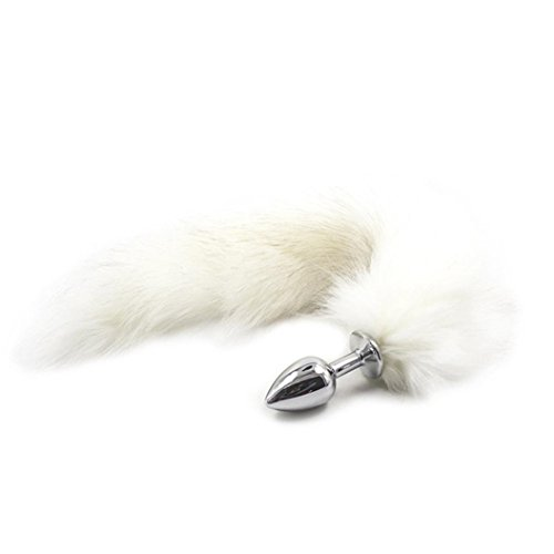 Rumas Long White Fox Anal Sex Products For Women & Men Butt Plug Role Play Sex Toys