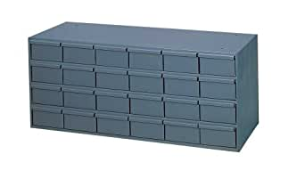 "Durham 007-95 Gray Cold Rolled Steel Storage Cabinet, 33-3/4"" Width x 14-3/8"" Height x 11-5/8"" Depth, 24 Drawer"