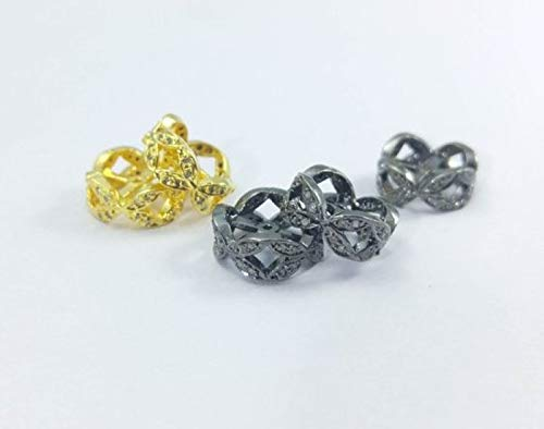 Flower Pattern Pave Diamond Spacer Beads - 10x5mm Flower Diamond Beads- Diamond Findings- Pave Beads- Gold Vermeil Rondelles
