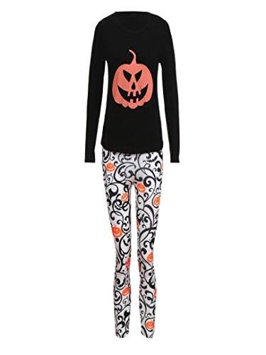 URIBAKE Mother&Me Women Halloween Pumpkin Print Tops T Shirt Pants Family Matching Sets Costume