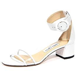 JIMMY CHOO 1920J Sandalo Donna White Jaimie Leather/plexi Shoe Woman