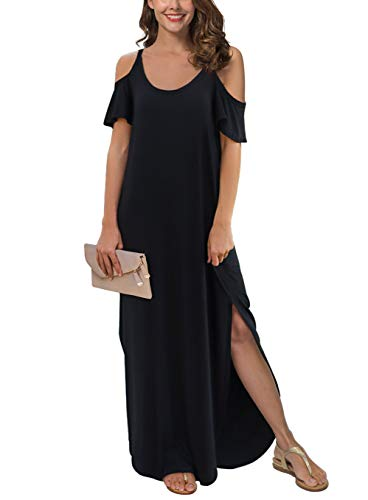 GRECERELLE Women's Summer Casual Loose Long Dress Strapless Strap Cold Shoulder Short Sleeve Split Maxi Dresses with Pocket Black-XL (Maxi Dress Black Casual)