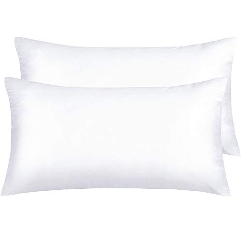 NTBAY Silky Satin King Pillowcases Set of 2, Super Soft and Luxury, Hidden Zipper Design, White, King ()