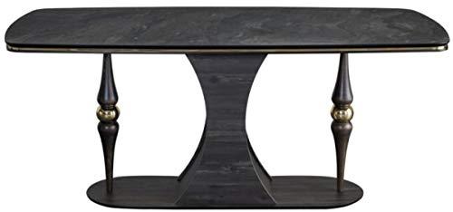 Casa Padrino Mesa de Comedor Art Deco Gris/Negro/laton 183 x 92 x A. 77 cm - Noble Mesa de Comedor con sobre de Vidrio en Aspecto marmol - Muebles de Comedor Art Deco