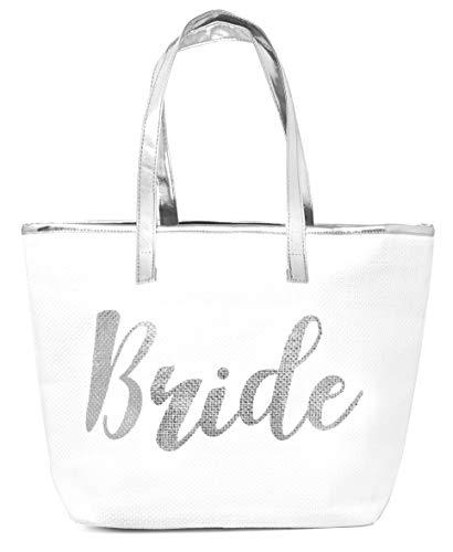 BG-719-BR-0901 - TOTE BAG - Bride - White/Silver