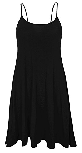 Ladies Plain sin mangas Cami tiras largo chaleco de Swing Top Mini vestido Plus tamaño negro