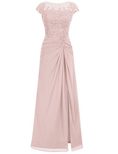 Ballkleider Chiffon Damen Spitze Lang Altrosa Festkleider Abendkleider Hochzeitskleider HOqwv1A