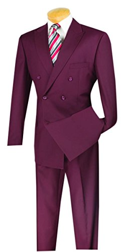 Vinci Wool Feel 6 Button Double Breasted Solid Color Suit DC900-1-Burgundy-40R ()