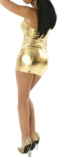 Sleeveless Clubwear Yellow Dress Sexy Bodycon Shiny Cromoncent Metallic Strapless Women qwC1HnxOE