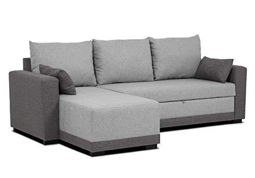 Confort24 Leah Sofa Cama 3 Plazas Chaise Longue Derecha o Izquierda Reversible Esquinero Dos Cojines Incluidos Tissu Salon Decoracion de Hogar (Gris)