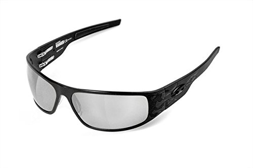 734b39c76e Image Unavailable. Image not available for. Color  ICICLES Big Daddy Bagger  Silver Lens Sunglasses with Matte Black Flames