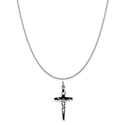 Mireval Sterling Silver Enameled Crucifix Charm on a Sterling Silver Carded Box Chain Necklace, 18