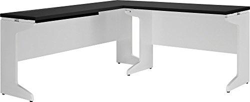 Ameriwood Home Furniture Pursuit L Shaped Desk Bundle, White/Gray