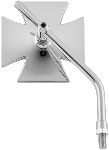 Biker's Choice Maltese Cross Mirror With Long Stem (Chrome)
