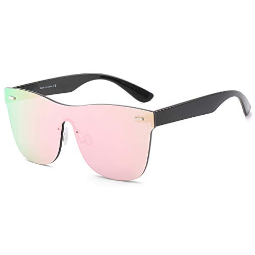 Rimless Mirrored Lens One Piece Sunglasses UV400 Protection for Women Men(Pink)