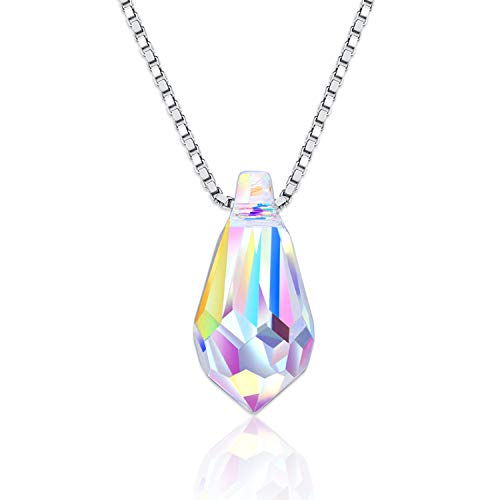 - Sterling Silver Rainbow Teardrop Necklace with Austrian Crystal,Color Changing Water-Drop Jewelry Waterdrop Pendant Necklace Anniversary Birthday Wedding Gifts for Women Ladies Girlfriend Sister