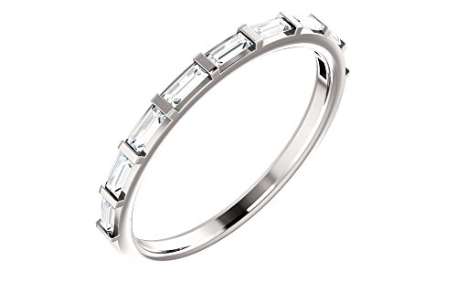 (Jewels By Lux Platinum 1/4 CTW Diamond Straight Baguette Anniversary Wedding Ring Band)