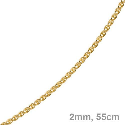 2 Mm collier chaîne à maillons en or jaune 585 goldkette unisexe 55 cm