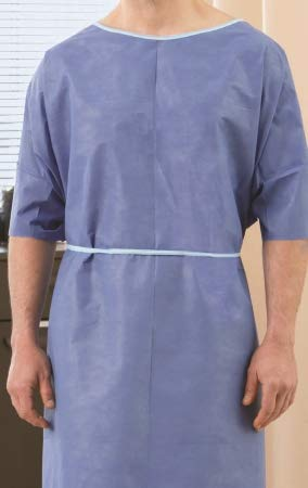Patient Exam Gown One Size Fits Most Adult Blue - 50 Each/Case - 65335