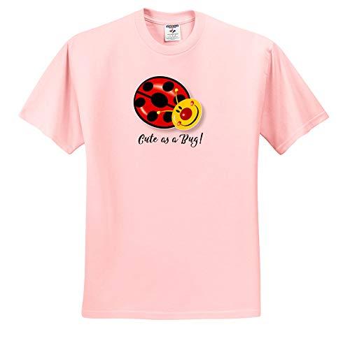 Russ Billington Designs - Cute as a Bug- Cute Ladybug Design with Black Text - T-Shirts - Adult Light-Pink-T-Shirt Medium (ts_293769_35)