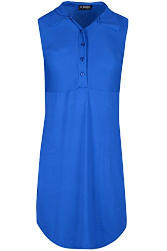 Oops Outlet Damen Knöpfe Vorne Mini Hemd Kleid Einfarbig Halbrunder Saum Ärmellos Top Königsblau XBStfor78e