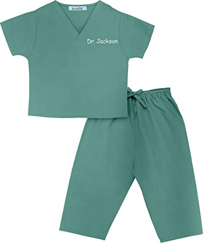 Scoots - Personalized Kids Scrubs, Customized with Your Childs Name, Size 12-18 Months, Medical Green