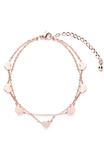 [Happiness Boutique Women Delicate Bracelet Heart Charms in Rose Gold | Double Stranded Bracelet] (Unique Costume Ideas For Teenage Girls)