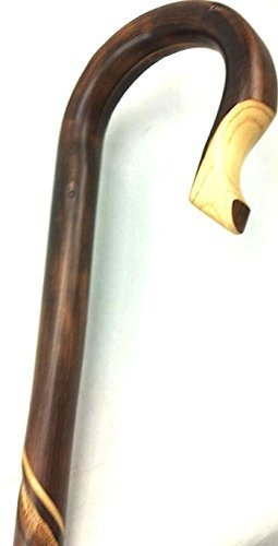 Unisex Shepherd Style Crook Cane Natural Chestnut  -Affordable Gift! Item #DHAR-9105600 ()