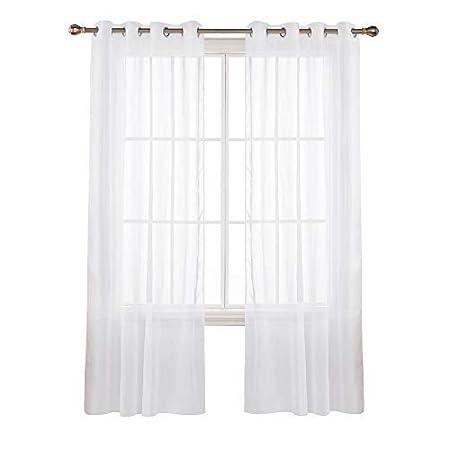 Deconovo Lot de 2 Oeillets Voilage Décoration Transparents Rideaux de la  Cuisine Moderne pour Fenêtre Porte Salon 132 x 242cm Blanc