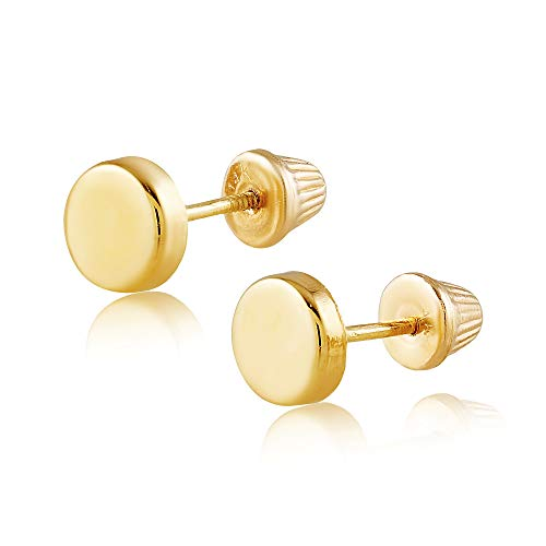 Balluccitoosi 14k Gold Tiny Stud Earrings for Women & Girls - Real Hypoallergenic, Small & Minimalist (High Polished Dot Stud) ()
