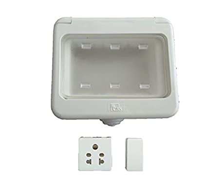 C S Water Proof 3 Module Plastic Box With 6a Switch And Socket