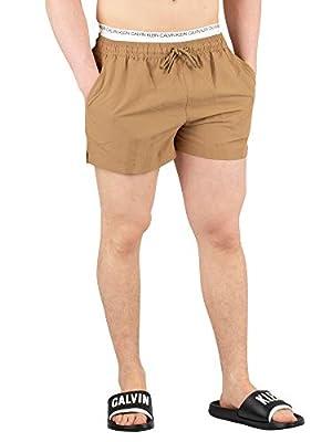 Calvin Klein Men's Short Double Waistband Swim Shorts, Brown