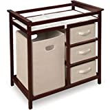Modern Changing Table with 3 Baskets and Hamper - Color: Cherry