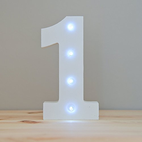 WONFAST Decorative Light Up Wooden Number Letters, White Wood Marquee LED Number Lights Sign Party Wedding Decor Battery Operated Number (1) by WONFAST