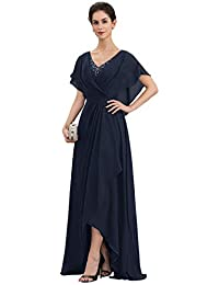 Women's Chiffon Ruffle Beaded Caps V-Neck Split Bodice Mother of The Bride Dress Formal Prom Gown