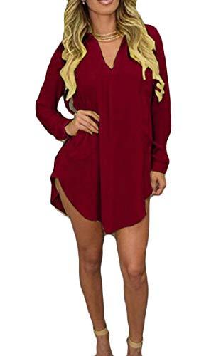 Camicia Abito au Manica V Casual Scollo A Con A Chiffon Irregolare Delle Vino Tasche Zhaoabao Donne Rossa Lunga 6PYdOxq6