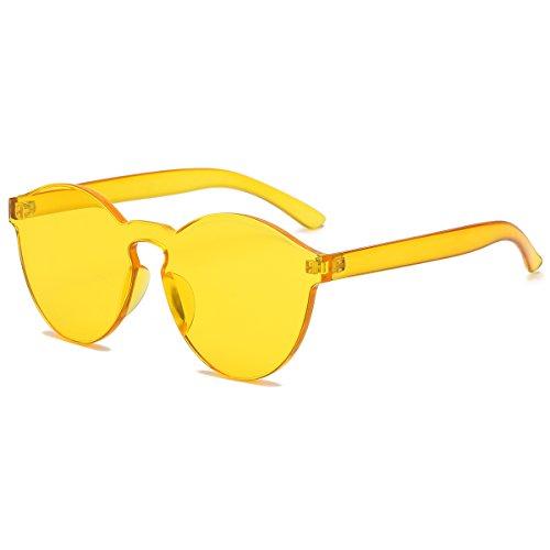 LKEYE-Fashion Party Rimless Sunglasses Transparent Candy Color Eyewear LK1737 Yellow Frame