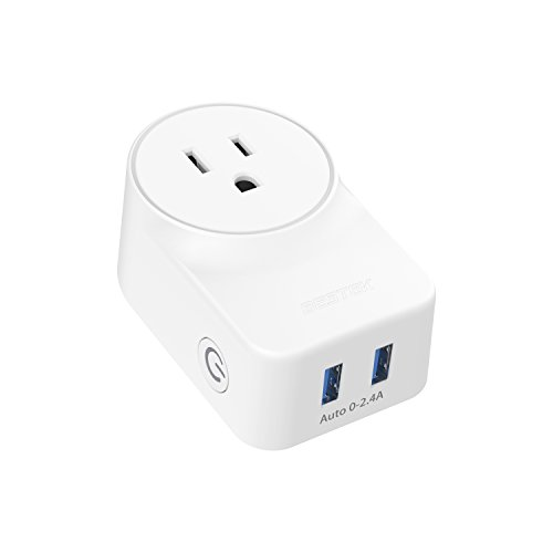 WiFi Smart Plug With USB Charging Ports by BESTEK, Compatible with Alexa and Google Assistant,FCC ETL Listed White (MRJ1011)