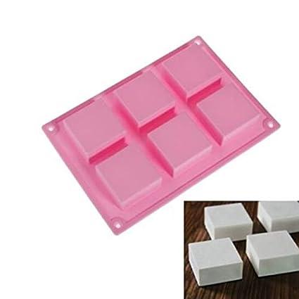 Molde Chocolate - 6 Cube Square Mini Wedding Fondant Cake Silicone Bakeware Mould Diy Soap Mold